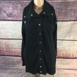 Banana Republic Jacket Womens Xs Black Snap Front